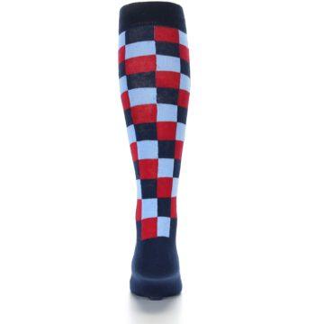 Image of Navy Red Checker Men's Over-the-Calf Dress Socks (back-18)