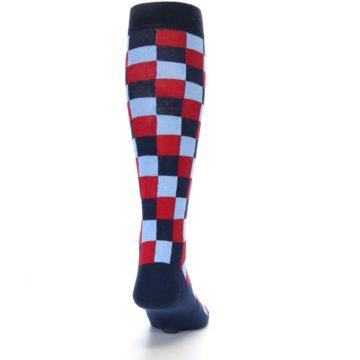 Image of Navy Red Checker Men's Over-the-Calf Dress Socks (back-19)