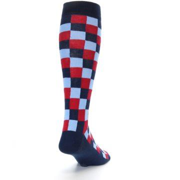Image of Navy Red Checker Men's Over-the-Calf Dress Socks (side-1-back-20)