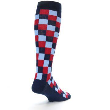 Image of Navy Red Checker Men's Over-the-Calf Dress Socks (side-1-back-21)