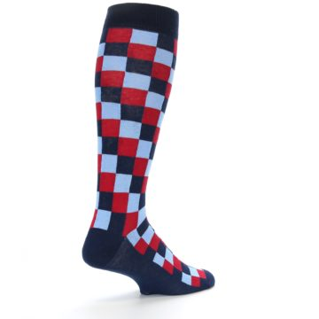 Image of Navy Red Checker Men's Over-the-Calf Dress Socks (side-1-back-22)