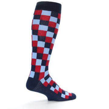 Image of Navy Red Checker Men's Over-the-Calf Dress Socks (side-1-23)