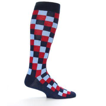 Image of Navy Red Checker Men's Over-the-Calf Dress Socks (side-1-24)