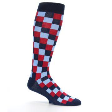 Image of Navy Red Checker Men's Over-the-Calf Dress Socks (side-1-25)