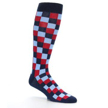 Image of Navy Red Checker Men's Over-the-Calf Dress Socks (side-1-26)