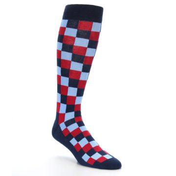 Image of Navy Red Checker Men's Over-the-Calf Dress Socks (side-1-27)