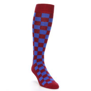Image of Maroon Royal Checker Men's Over-the-Calf Dress Socks (side-1-front-02)