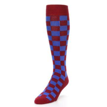 Image of Maroon Royal Checker Men's Over-the-Calf Dress Socks (side-2-front-07)