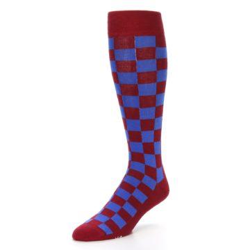 Image of Maroon Royal Checker Men's Over-the-Calf Dress Socks (side-2-front-08)