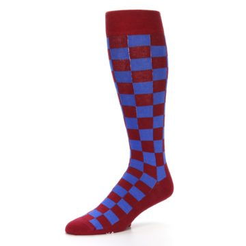 Image of Maroon Royal Checker Men's Over-the-Calf Dress Socks (side-2-09)