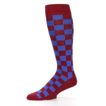 Image of Maroon Royal Checker Men's Over-the-Calf Dress Socks (side-2-10)