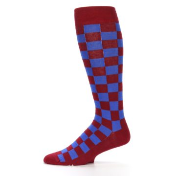 Image of Maroon Royal Checker Men's Over-the-Calf Dress Socks (side-2-11)