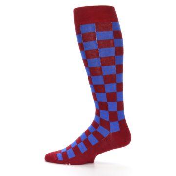 Image of Maroon Royal Checker Men's Over-the-Calf Dress Socks (side-2-12)