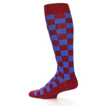 Image of Maroon Royal Checker Men's Over-the-Calf Dress Socks (side-2-13)