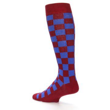 Image of Maroon Royal Checker Men's Over-the-Calf Dress Socks (side-2-back-14)