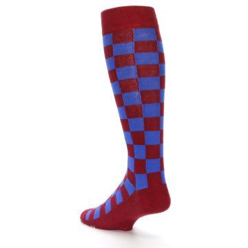 Image of Maroon Royal Checker Men's Over-the-Calf Dress Socks (side-2-back-15)