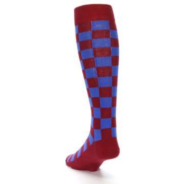 Image of Maroon Royal Checker Men's Over-the-Calf Dress Socks (side-2-back-16)