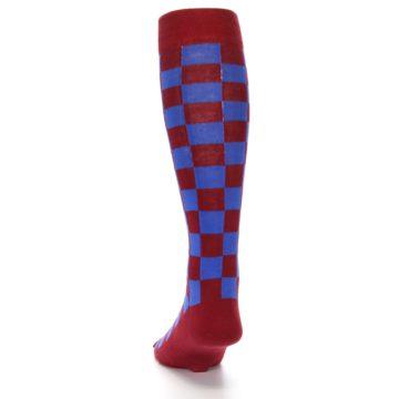 Image of Maroon Royal Checker Men's Over-the-Calf Dress Socks (back-17)