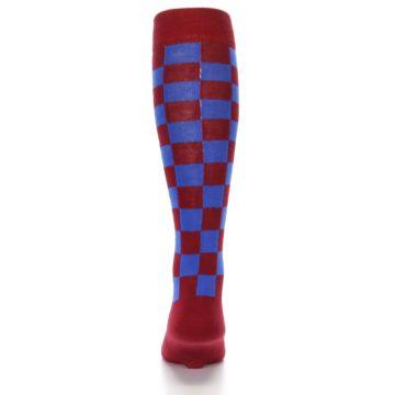Image of Maroon Royal Checker Men's Over-the-Calf Dress Socks (back-18)