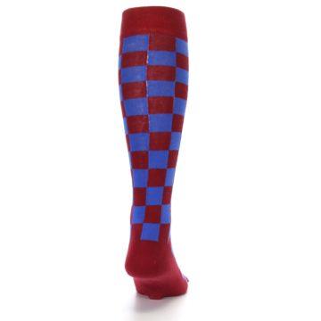 Image of Maroon Royal Checker Men's Over-the-Calf Dress Socks (back-19)