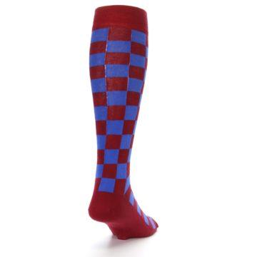 Image of Maroon Royal Checker Men's Over-the-Calf Dress Socks (side-1-back-20)