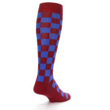 Image of Maroon Royal Checker Men's Over-the-Calf Dress Socks (side-1-back-21)