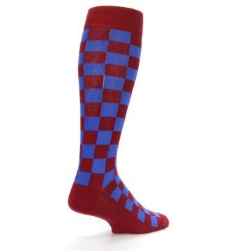 Image of Maroon Royal Checker Men's Over-the-Calf Dress Socks (side-1-back-22)