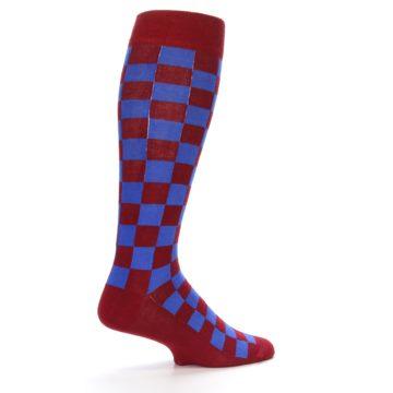 Image of Maroon Royal Checker Men's Over-the-Calf Dress Socks (side-1-23)