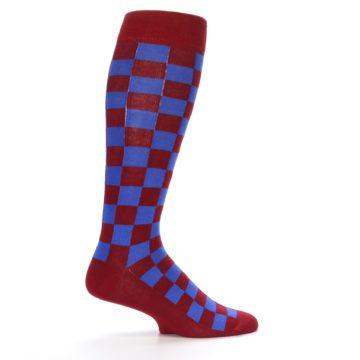 Image of Maroon Royal Checker Men's Over-the-Calf Dress Socks (side-1-24)