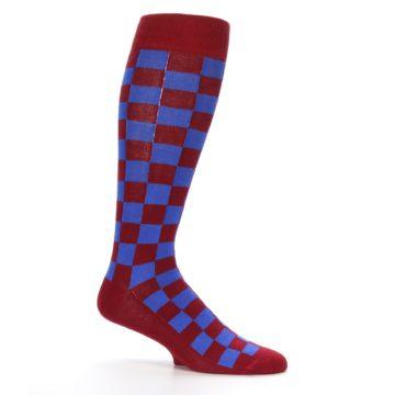 Image of Maroon Royal Checker Men's Over-the-Calf Dress Socks (side-1-25)