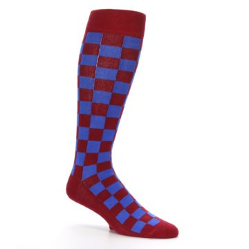Image of Maroon Royal Checker Men's Over-the-Calf Dress Socks (side-1-26)