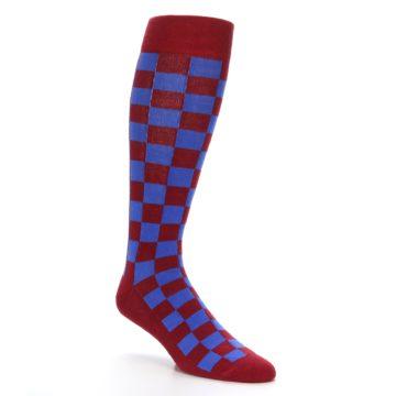 Image of Maroon Royal Checker Men's Over-the-Calf Dress Socks (side-1-27)