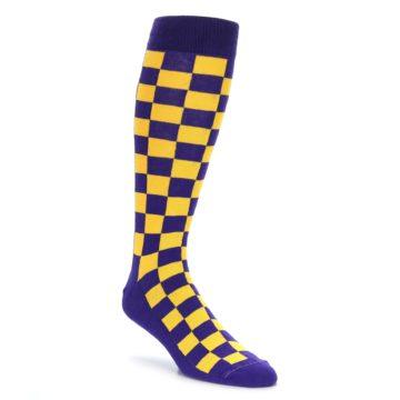 Purple Yellow Over the Calf Dress Socks