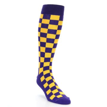 Image of Purple Yellow Men's Over-the-Calf Dress Socks (side-1-front-02)