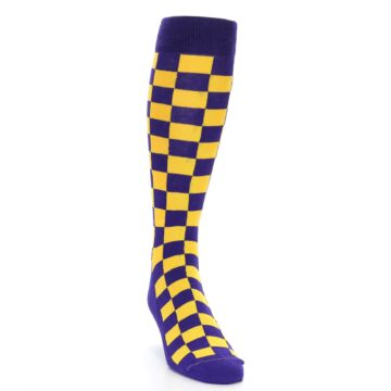 Image of Purple Yellow Men's Over-the-Calf Dress Socks (side-1-front-03)