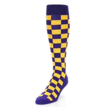 Image of Purple Yellow Men's Over-the-Calf Dress Socks (side-2-front-07)