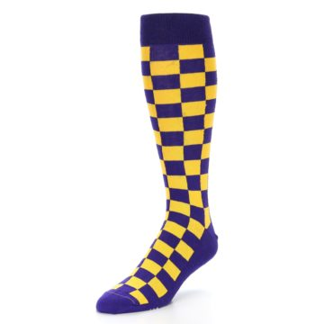 Image of Purple Yellow Men's Over-the-Calf Dress Socks (side-2-front-08)