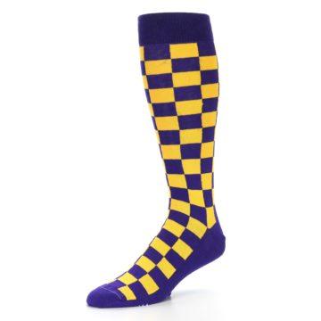 Image of Purple Yellow Men's Over-the-Calf Dress Socks (side-2-09)