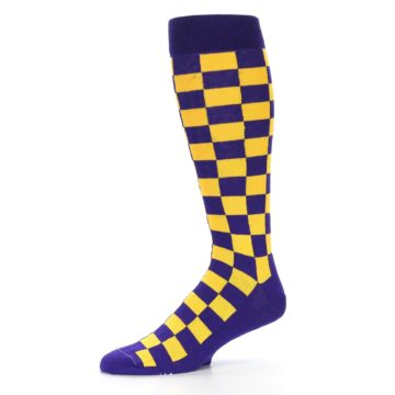 Image of Purple Yellow Men's Over-the-Calf Dress Socks (side-2-10)