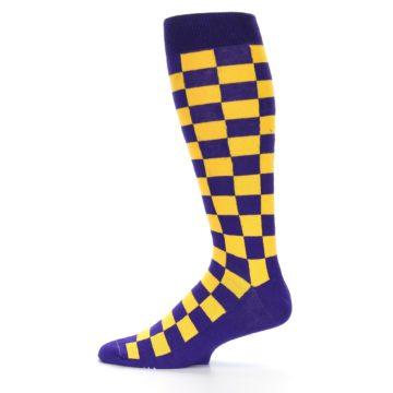 Image of Purple Yellow Men's Over-the-Calf Dress Socks (side-2-12)