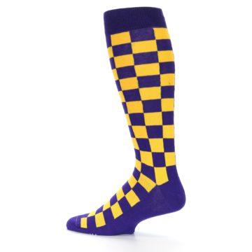 Image of Purple Yellow Men's Over-the-Calf Dress Socks (side-2-13)