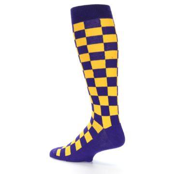 Image of Purple Yellow Men's Over-the-Calf Dress Socks (side-2-back-14)