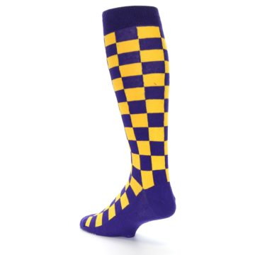 Image of Purple Yellow Men's Over-the-Calf Dress Socks (side-2-back-15)