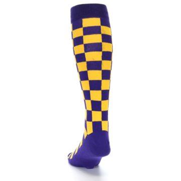 Image of Purple Yellow Men's Over-the-Calf Dress Socks (back-17)