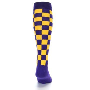 Image of Purple Yellow Men's Over-the-Calf Dress Socks (back-19)