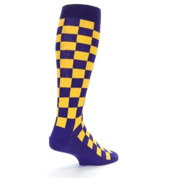 Image of Purple Yellow Men's Over-the-Calf Dress Socks (side-1-back-22)