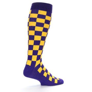 Image of Purple Yellow Men's Over-the-Calf Dress Socks (side-1-23)