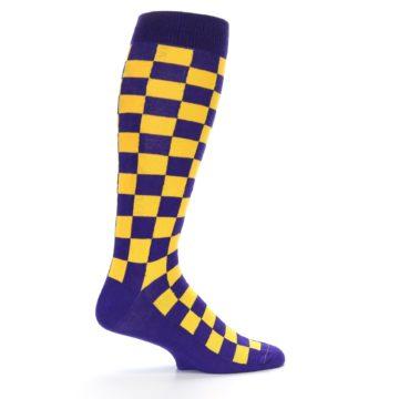 Image of Purple Yellow Men's Over-the-Calf Dress Socks (side-1-24)