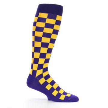 Image of Purple Yellow Men's Over-the-Calf Dress Socks (side-1-25)