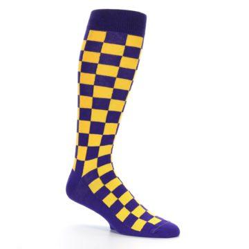 Image of Purple Yellow Men's Over-the-Calf Dress Socks (side-1-26)